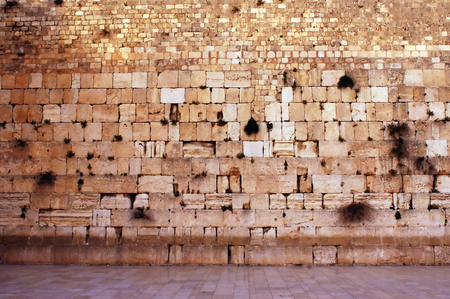The wailing wall is empty in the old city in Jerusalem, Israel