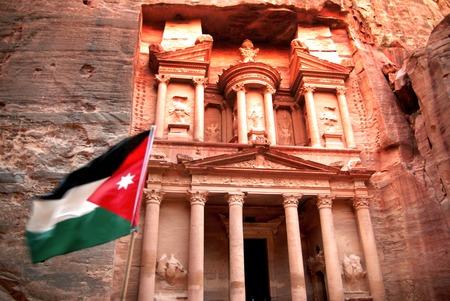 treasury: The Jordanian flag in the Treasury at Petra.