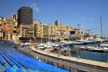 french ethnicity: Audience seats  for formula 1 one racing in Monaco.