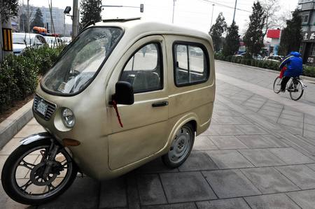 odd: Odd and funny motorcycle car. Editorial