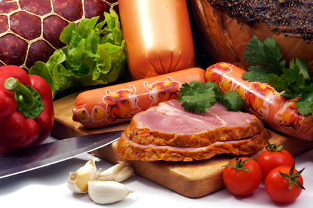 Prepared food on a table in a restaurant. Stock Photo