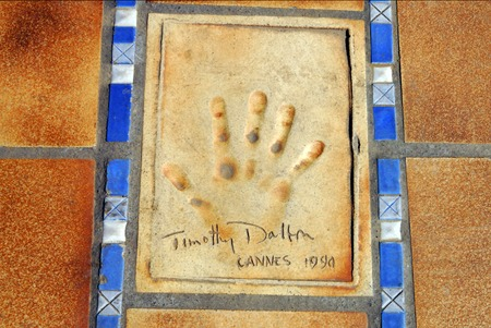 imbedded: Handprints of movie and film stars (Timothy Dalton) in Cannes, France.