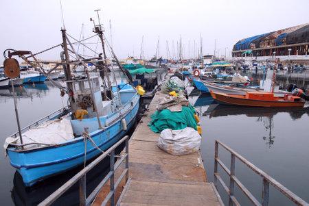 yaffo: Fishing boats mooring at ancient Yaffo Port Israel in Tel Aviv, Israel.