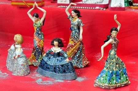 Flamenco dancers dolls  in a souvenir shop in Madrid Spain.