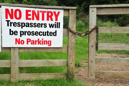 new entry: No entry sign on Waiheke Island, New Zealand.
