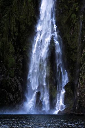 fiordland: Waterfalls in Fiordland, southern New Zealand.