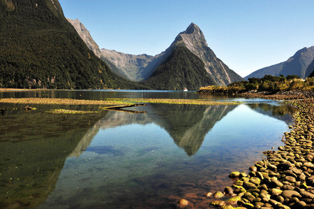 zealand: Mitre Peak in Fiordland National Park, southern Island, New Zealand.
