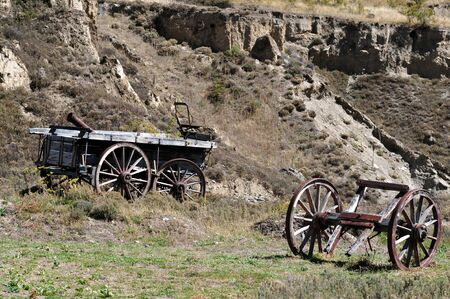 gold mining: Old gold mining wagons, south Island, New Zealand.