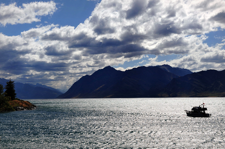 south island new zealand: Landscape view in Wanaka, south island, New Zealand. Stock Photo