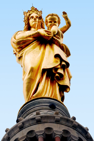 garde: Statue at the famous church Notre Dame de la Garde in Marseille in South France. Stock Photo