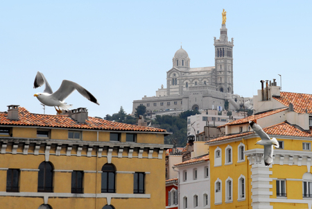 garde: View of the famous church Notre Dame de la Garde in Marseille in South France.