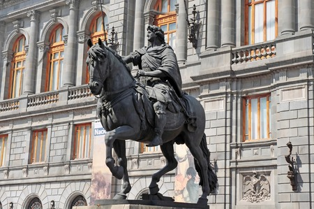 mexico city: National Museum of Art and Statue of Charles IV in Mexico City historic centre.