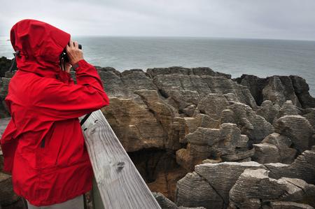 orificio nasal: Rocas de la crepe en Punakaiki, Isla Sur, Nueva Zelanda.