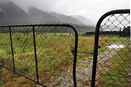 An old farm gate on the west coast in southern New Zealand.