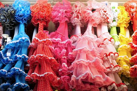 마드리드 스페인 플라멩코 드레스 숍. 스톡 콘텐츠