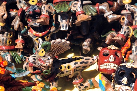 merchandise mart: Mexican goods for sale at the Pyramids of Teotihuacan site, Mexico. Stock Photo