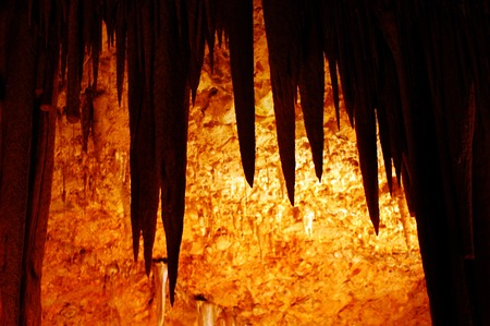 strange mountain: Stalactite in Soreq Avshalom Cave located in the Judean Mountains, Israel. Stock Photo