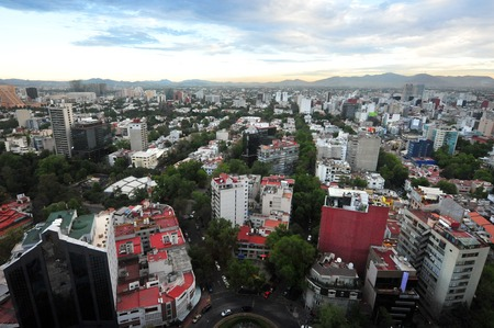 downtown: Aerial view of Mexico City, Mexico.