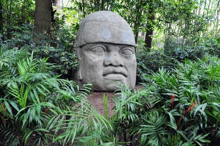 メキシコ国立博物館の Anthropolog、メキシコシティ メキシコのメキシコのコロンブスの遺産からオルメカの巨大な頭。