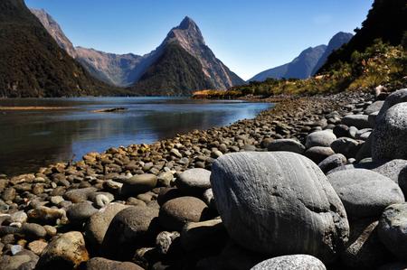 fiordland: Mitre Peak in Fiordland National Park, southern Island, New Zealand.