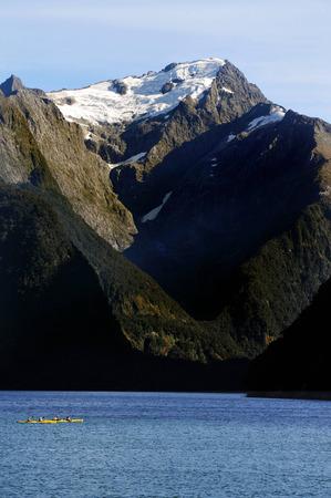 fiordland: Canoeing on Fiordland national park in southern New Zealand.