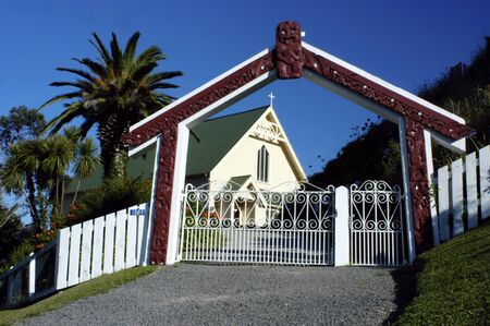 extensively: Decoration at Saint Marys Church in Tikitiki, New Zealand. The church displays a meeting of two cultures. The structure is typically European, but the extensively carved and decorated interior is typically Maori. It is one of the finest Maori churches in Stock Photo