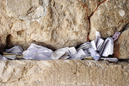 Notes to God in the Western Wall in Jerusalem, Israel Stock Photo