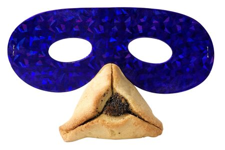 hamantashen: Hamantashen, traditional pastry and a party mask for the Jewish holiday of Purim