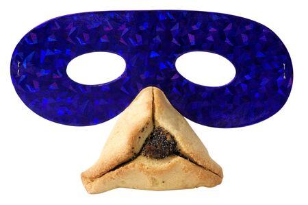 hamantashen: Hamantashen, traditional pastry and a party mask for the Jewish holiday of Purim
