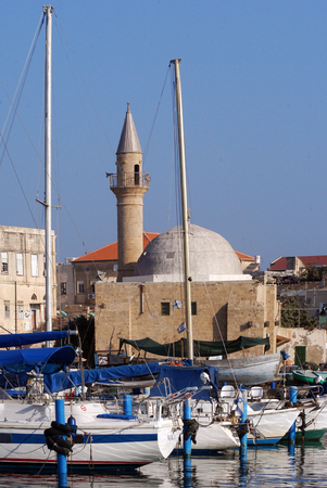 holyland: The historic port of Acre in Akko ,Israel.