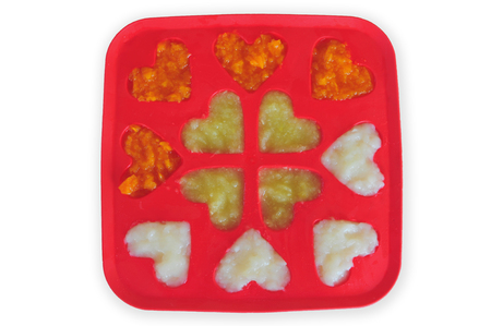 pureed: Pureed Baby Food in an Ice Cube Tray