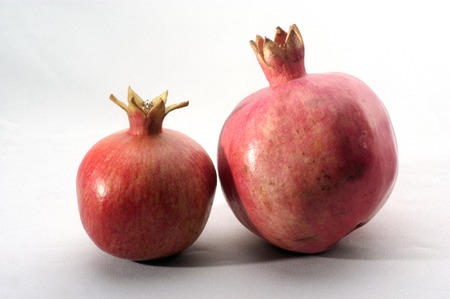 pommegranate: Two pomegranates on a white and gray background