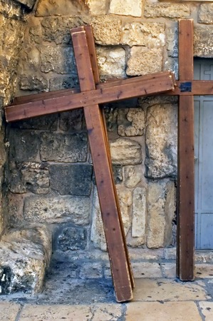coptic orthodox: Photo of crucifixion crosses in a street of the old city of Jerusalem, Israel