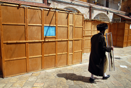 tabernacles: JERUSALEM- SEPTEMBER 28:An Ultra orthodox Jewish man carry the four species during Sukkoth Jewish holiday on September 28 2007 in Mea Shearim, ultra orthodox neighborhood Jerusalem, Israel.Sukkoth is one of the three biblically mandated festivals on which Editorial