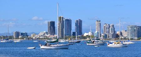 Sail boats: Sail boats mooring at Broadwater in Gold Coast Queensland, Australia.