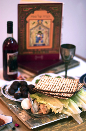the feast of the passover: Table Ready For Traditional Seder Ritual during the Jewish holiday of Passover.