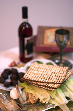 matzoth: Table Ready For Traditional Seder Ritual during the Jewish holiday of Passover.