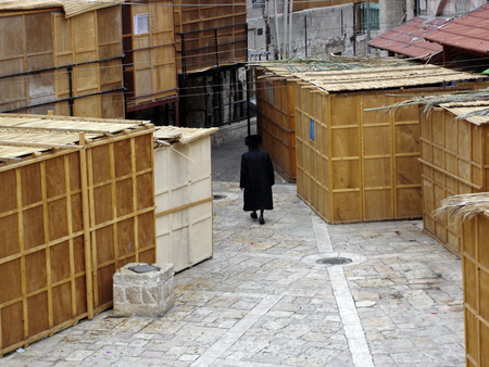 tabernacles: Sukkot in Meah Shearim neighborhood in Jerusalem, Israel.
