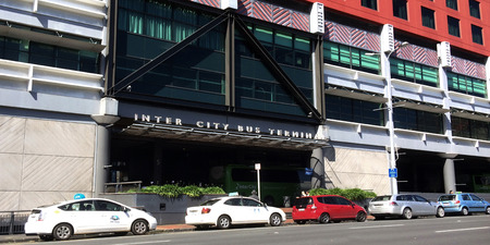 intercity: AUCKLAND,  NZL - SEP 12 2015:Intercity Bus Terminal in Sky city Auckland, New Zealand. InterCity, New Zealands largest bus network, servicing around 600 towns and communities daily