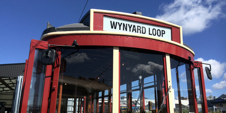tramcar: AUCKLAND,  NZL, SEP 12 2015:Auckland Dockline Wynyard Quarter Tram.The vintage tram currently runs on a newly built 1.5 km 0.93 mi circuit in Wynyard Quarter close to downtown Auckland, New Zealand.