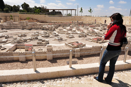 eligion: Model of the Jewish Temple Mount in The Israel Museum Jerusalem, Israel. Editorial