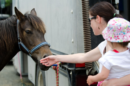 show horse: Young mother and her baby girl are petting a Rodeo show horse.