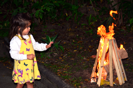 lag: Little girl celebrate Lag BaOmer Jewish Holiday by lit a bonfire outdoor.