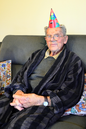five years old: A ninety five years old man celebrates his 95 birthday.
