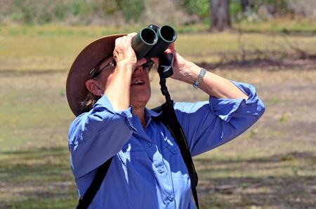 gold coast australia: Mature woman birdwatching watching through binoculars in Coombabah Lake Conservation Park IN Gold Coast, Australia