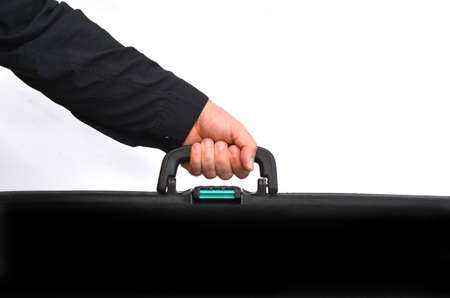 Had of a man carry travel suitcase against white background with copy space. Concept photo of travel, vacation, holiday, destination, tourism, traveler, tourist. Zdjęcie Seryjne