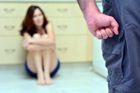 wife beater: Woman in fear of domestic abuse. unrecognisable people. Concept photo of domestic violence , woman abuse and man violence. selective focus