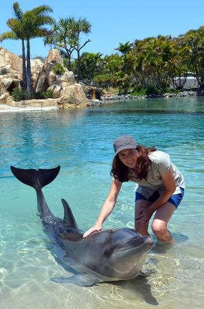Woman interact with Dolphin in Sea World Gold Coast Australia. Stock Photo