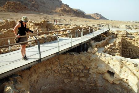 jewish group: A visitor at Qumran National Park Israel. Stock Photo