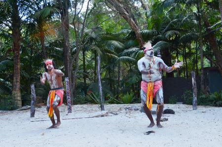 aborigines: Two Yugambeh Aboriginal warriors dance during Aboriginal culture show in Queensland, Australia.